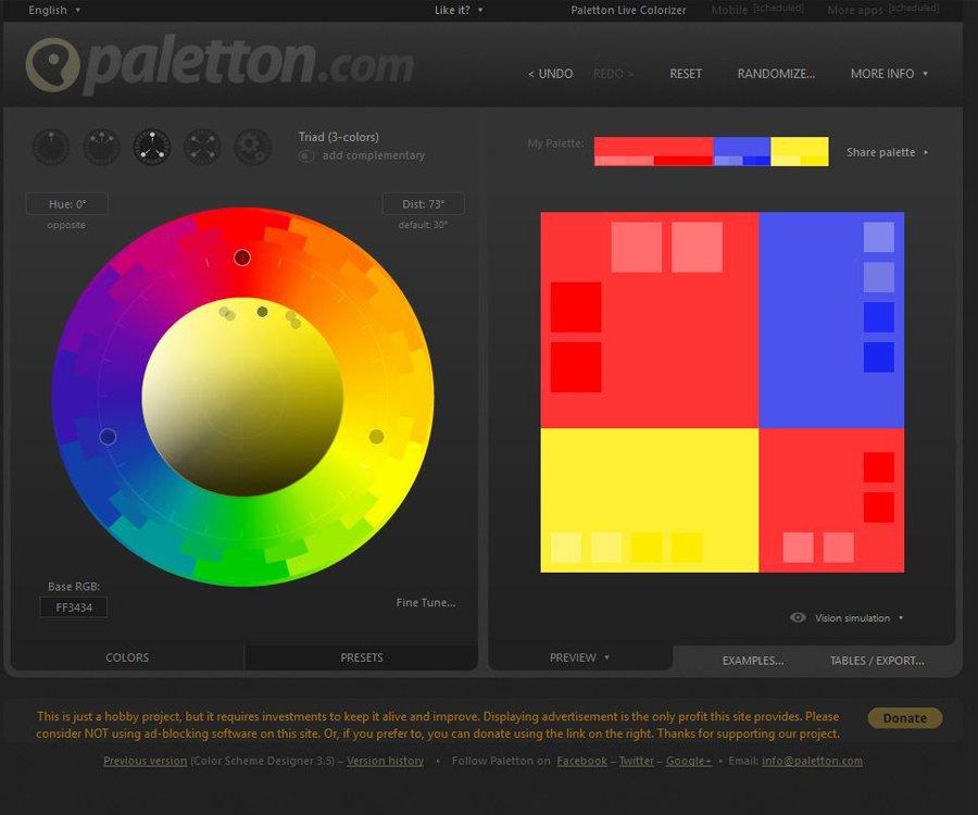 Site de spécialisé dans la couleur : paletton