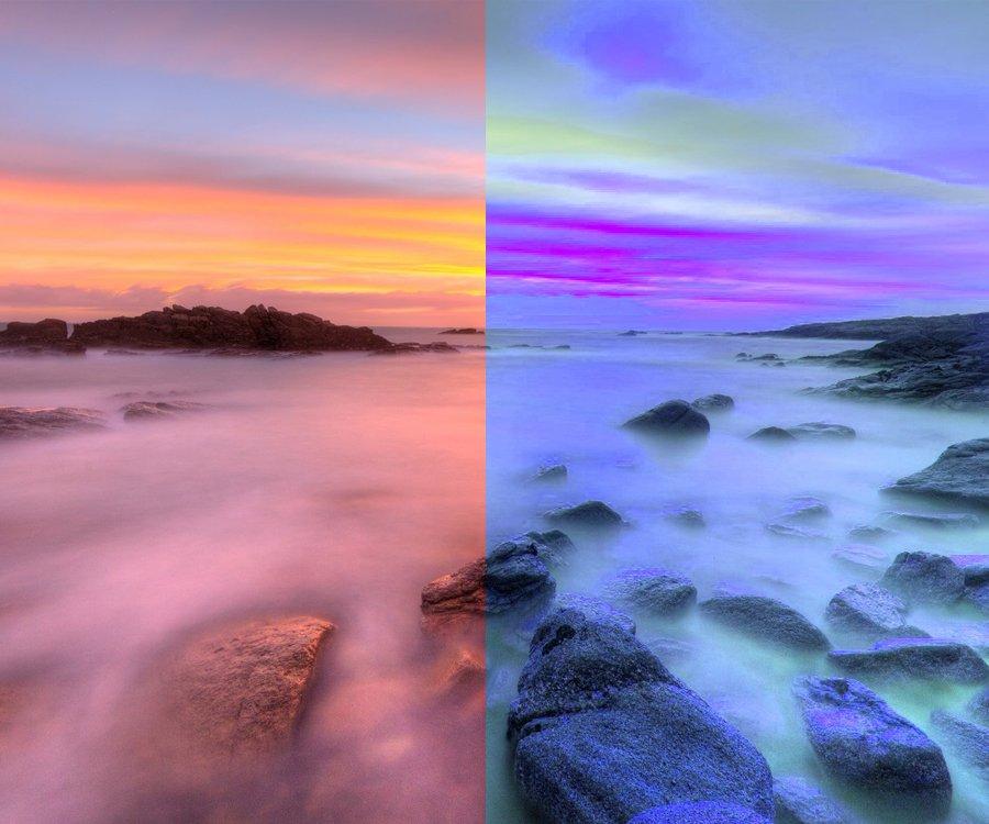 Différence avec une même image sur couleur froide ou chaude